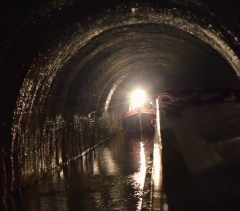 passing boat in Blisworth Tunnel
