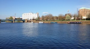 moored County Hall & Trent Bridge Nottingham