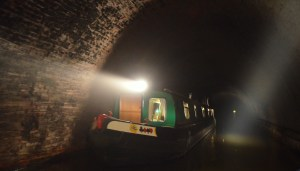 boat passing in Crick Tunnel